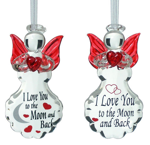 I love you to the moon and back angel set glass ornaments