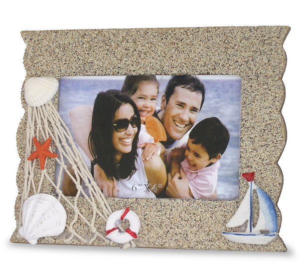 Beach Picture Frame with Sailboat Starfish & Shells