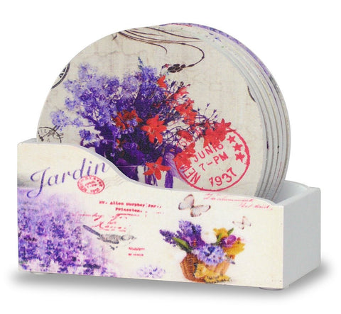 Drink Coasters with Holder - Set of 6 Butterflies and Lavender Flowers Pattern(2163)