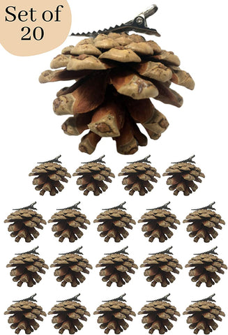 BANBERRY DESIGNS Pine Cone Christmas Clip On Ornaments - Set of 20 Real Pinecones with Silver Metal Clips Attached - Approx. 2 Inch Pinecone