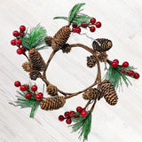 Pinecones Pine Red Berries Wreath Candle Ring Ornament (3307)