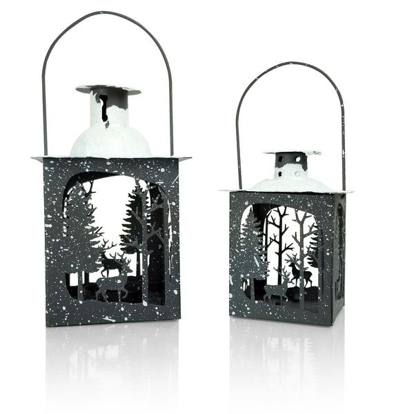 Holiday Lantern Set - Pack of 2 - Small and Medium Metal Lanterns - Winter Scene with Deer - Snow Covered Lanterns