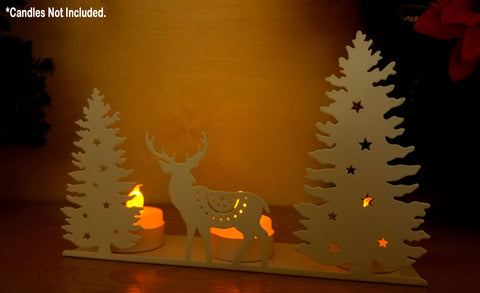 Deer Candle Holder - Tea Light Candleholder with White Glitter Winter Scene Silhouette - Dear and Evergreen Tree Cut Outs - White Glitter Candle Holders(9307)