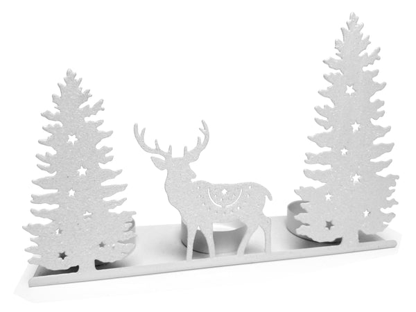 Deer Candle Holder - Tea Light Candleholder with White Glitter Winter Scene Silhouette - Dear and Evergreen Tree Cut Outs - White Glitter Candle Holders