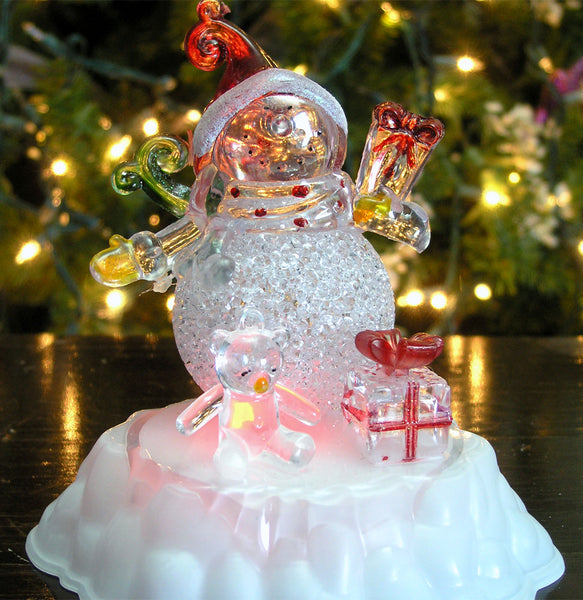 Snowman Christmas Decorations - Color Changing LED Acrylic Winter Snowman Figurine