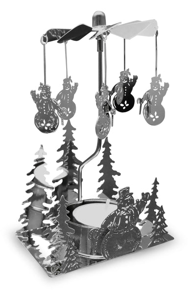 Snowman Spinning Candle Holder - Silver Plated Laser Cut Snowman and Pine Trees - Winter Scene Candle Holder - Swedish Designs