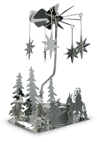 Nativity Candle Spinner - Laser Cut Plated Silver Tea Light Holder with a Nativity Scene and Moravian Stars - Scandinavian Design Candle Holder