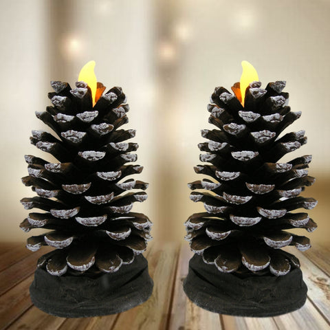 Pine Cone Candle - Set of 2 LED Flameless Candles Shaped Like Real Pinecones (3364)