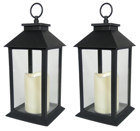 Decorative Black Lantern - Set of 2 Lanterns with LED Candle and 5-Hour Timer