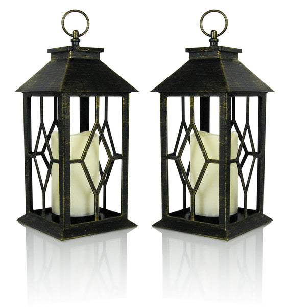 "Decorative Lanterns - Set of 2 Antique Bronze Decorative Lantern with a Flameless LED Pillar Candle and 5 Hour Timer - Outdoor Lighting - 13""H"
