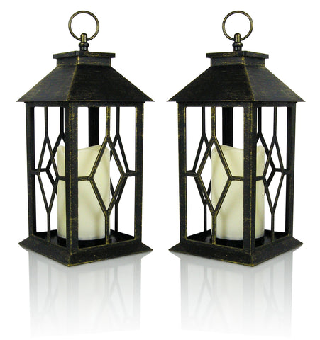"Banberry Designs Decorative Lanterns - Set of 2 Antique Bronze Decorative Lantern with a Flameless LED Pillar Candle and 5 Hour Timer - Outdoor Lighting - 13""H (1541-2)"