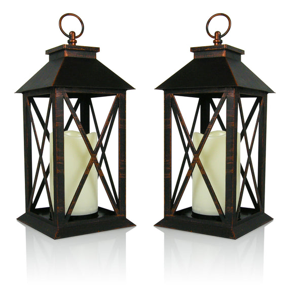 "Decorative Lanterns - Set of 2 Brushed Brass Candle Lanterns with a Flameless LED Pillar Candle and 5 Hour Timer - Outdoor Lighting - 13""H"