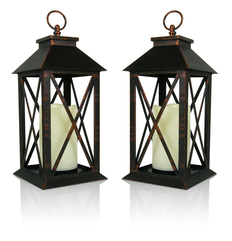 "Banberry Designs Decorative Lanterns - Set of 2 Brushed Brass Candle Lanterns with a Flameless LED Pillar Candle and 5 Hour Timer - Outdoor Lighting - 13""H (9604-7)"