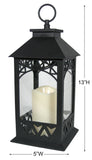 Decorative Lanterns - Set of 2 Black Lantern with LED Pillar Candle