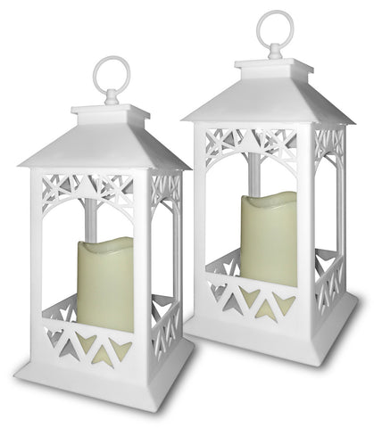 White Lanterns - Set of 2 Lanterns with LED Candles