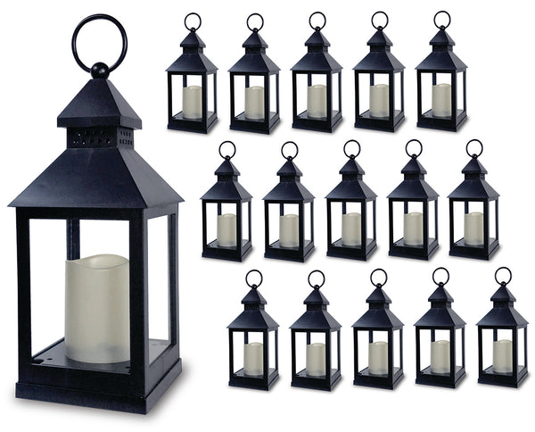"Decorative Lanterns - Set of 16 - 5 Hour Timer - 11""H - Flameless Candles Included - Indoor/Outdoor Lantern Set"
