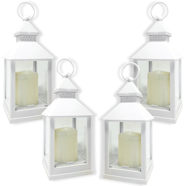 Small White Lanterns - Set of 4 Decorative Lanterns - 5 Hour Timer on Each