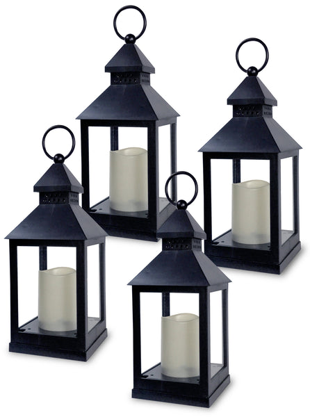 Black Mini Lanterns - Set of 4 Decorative Lanterns with Candles Included