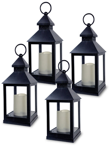 Black Mini Lanterns - Set of 4 Decorative Lanterns with Candles Included(9634-4)