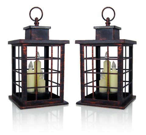 Decorative Candle Lanterns - Set of Antique Bronze Lanterns with LED Taper Candles Attached - Mission Style Lanterns