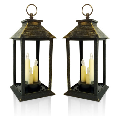Candle Lanterns - Set of Antique Gold Lanterns with 3 LED Taper Candles - Indoor/Outdoor lantern - 5 Hour Timer