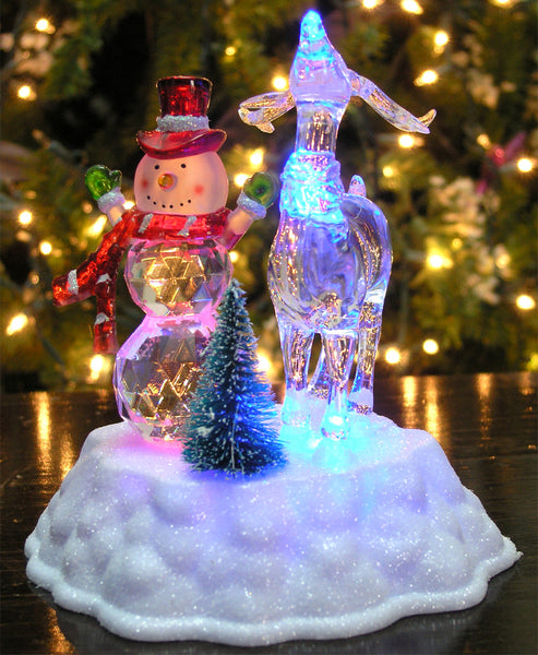Snowman Decorations - LED Light Up Snowman and Reindeer Figurine