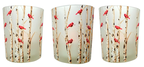 Cardinal Candles - Set of 3 Frosted Glass Votive Holders - Red Cardinals on Birch Tree Branches