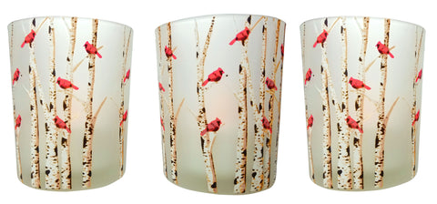 Cardinal Candles - Set of 3 Frosted Glass Votive Holders - Red Cardinals on Birch Tree Branches(9735)