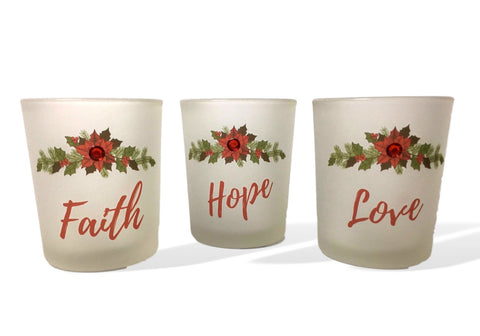 Faith, Hope and Love Candle Holders - Set of 3 Frosted Glass Votive Holders with Red Christmas Poinsettia Design(9739)