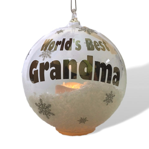 Grandma Ornament - LED Light Up Christmas Ornament - White Glittery Snow and Snowflakes with a Flameless Candle Inside Ball