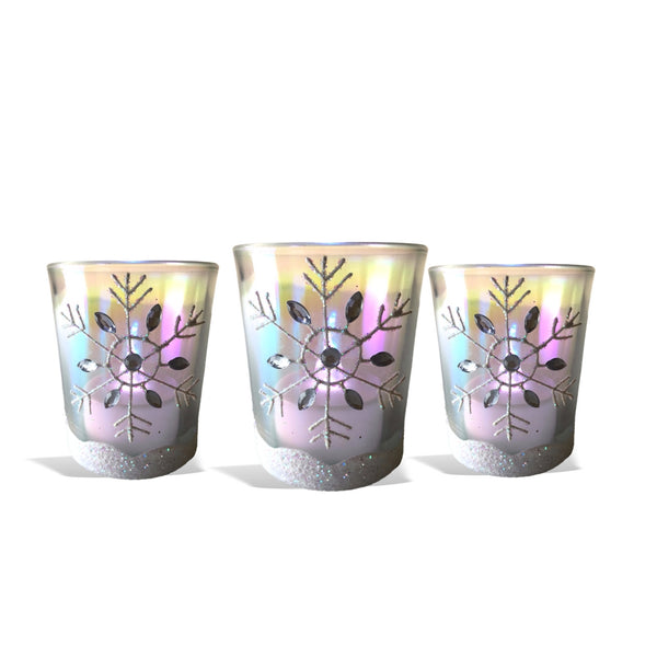 Snowflake Candles – Set of 3 Glass Votive Candleholders with White Glittered Snowflakes - Flameless Flickering LED Tealights Included – Metallic Rainbow Finish – Aurora Borealis