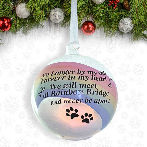 Rainbow Bridge Glass Ball LED Lighted Ornament