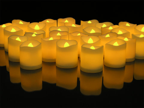 LED Lighted Flickering Votive Candles White Flameless - Banberry Designs - Box of 48
