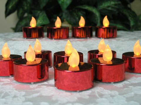 Red Candles - Set of 48 Metallic Red Led Tealight Candles
