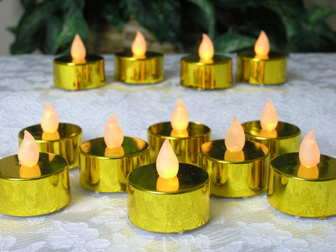 Gold Candles - set of 48 Gold Flame Free Tea Lights(