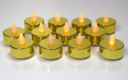 Gold LED Flameless Candle Tealights - Set of 24