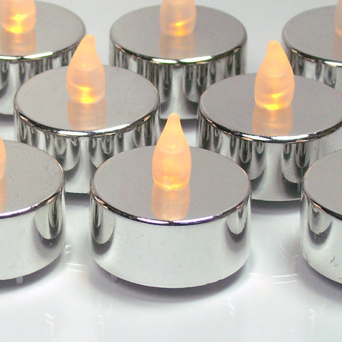 Silver Candles - Set of 12 Flameless Tealights(9831)