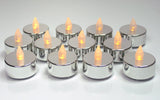 Silver Candles - Set of 12 Flameless Tealights