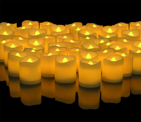 LED Lighted Flickering Votive Style Flameless Candles - Banberry Designs - Box of 96 - Wedding Decorations - Centerpieces