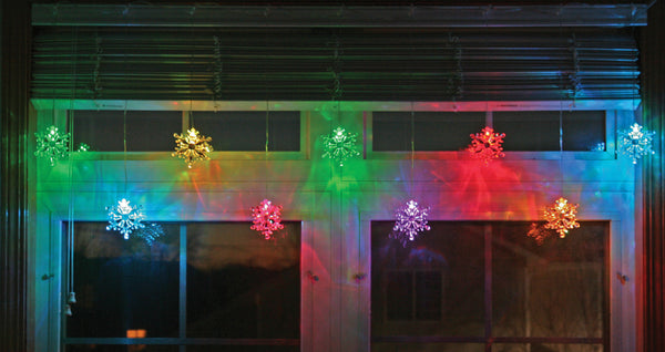Snowflake String Lights Garland Color-Changing Snowflakes Lighted Strand LED
