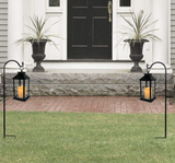 Garden Decorative Black Lantern with Shepherds Hook - Set of 2 LED Flickering Flameless Pillar Candles with 5 Hour Timer - Indoor/Outdoor