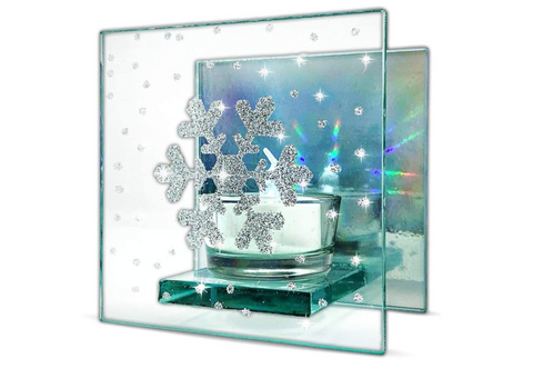 Snowflake Candle Holder - Aurora Borealis like Image Behind a Silver Glittery Snowflake Tea Light Candle Holder