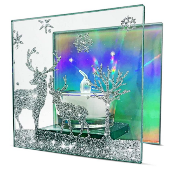 Christmas Candle Holder – Glittered Deer Silhouette in a Winter Scene with Snowflakes - Aurora Borealis Lights up the Background