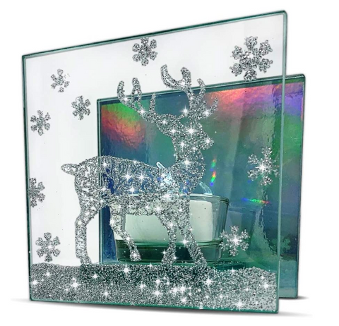Deer Candle Holder - Glass Candleholder Painted with a Glittery Deer Silhouette - Northern Lights reflection backdrop with a White Tealight