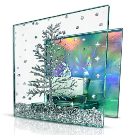 Christmas Candle – Glass Candleholder with a Glittery Xmas Tree Design - Aurora Borealis Reflected in Background - LED Tealight included