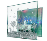 Winter Candle Holder - Glittery Deer and Tree Scene - Aurora Borealis Reflected in Background - LED Tealight included