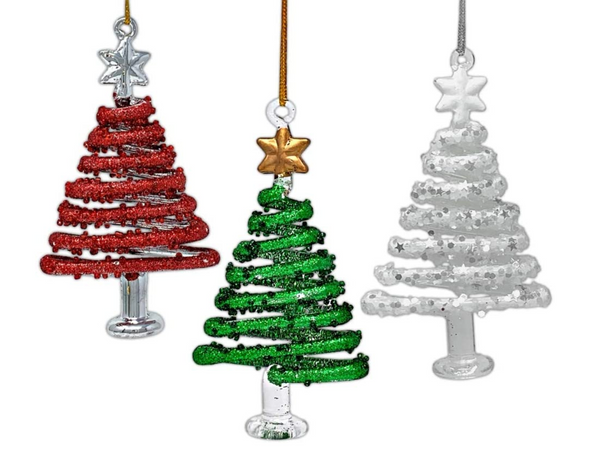 Christmas Tree Ornaments - Set of 3 Red, White and Green Hanging Xmas Trees - Glittery Glass Ornaments