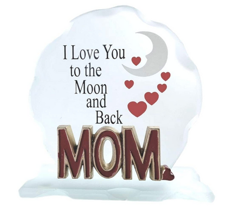 I Love You Mom - to The Moon and Back Frosted Glass Desktop Decoration with Red Hearts and Moon Design - Special Mother