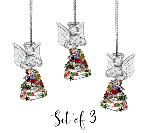 Angel Ornaments - Set of 3 Spun Glass Angels with Confetti Glitter Dresses - Glass Christmas Ornament Sets - Angel Figurines