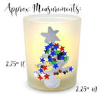 Christmas Tealight Candle Holder Set of 3 Frosted Glass- Votive Holders Hand Painted with Colorful Xmas Trees - 3 White LED Flameless Candles Included